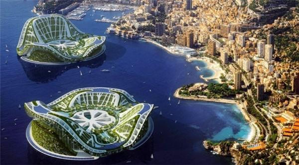 """Trên đây là ý tưởng về thành phố nổi""""Lilypad"""" củaVincent Callebaut gồmnhững tòa nhà được xây dựng trên mặt nước với hình dáng hoa Lily. Thiết kế nàydựa trên phản ứng của thế giới đối với vấn đề nước biển dâng cao, việc sử dụng năng lượng gió, mặt trời và thủy triều."""