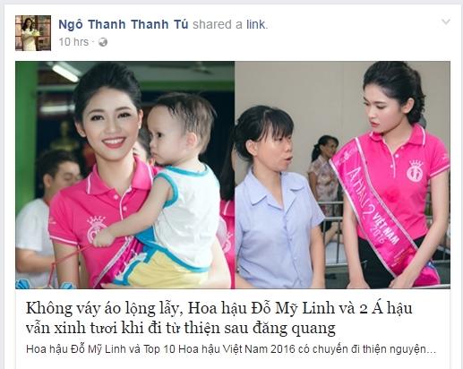 Tuy nhiên cô không đăng tải thông tin liên quan đến đời tư mà chỉ chia sẻ bài viết vềHoa hậu Việt Nam 2016. - Tin sao Viet - Tin tuc sao Viet - Scandal sao Viet - Tin tuc cua Sao - Tin cua Sao