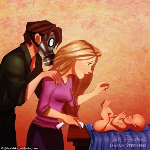 """Cảnh tượng vô cùng quen thuộc của những ông bố bà mẹ trẻ lần đầu thấy em béị: Trong khi mẹRapunzel lúng túng thay tã cho con thì phía sau bốEugene lại """"làm lố"""" đến mức đeo mặt nạ khử độc."""