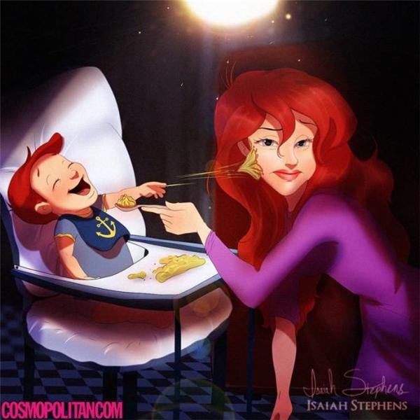 Cho em bé ăn không dễ chút nào đúng không Ariel?