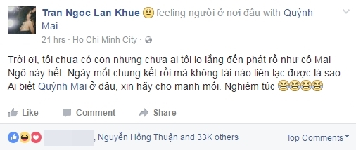 "Lan Khuê lo cho Mai Ngô đến ""phát rồ"".Ảnh: FacebookLan Khuê - Tin sao Viet - Tin tuc sao Viet - Scandal sao Viet - Tin tuc cua Sao - Tin cua Sao"