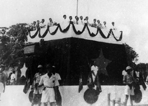 Lễ đài nơi Chủ tịch Hồ Chí Minh đọc Bản tuyên ngôn tại quảng trường Ba Đình. Ảnh: Tư liệu