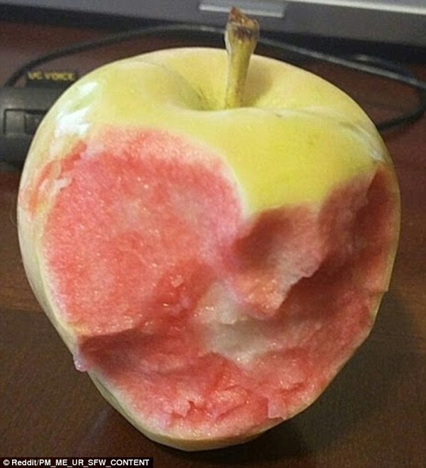 Chắc hẳn đã cóaingầm lai giống cho quả táo này rồi, nếukhông thì làm sao một quả táo xanh lại có ruột màuhồng được cơ chứ.