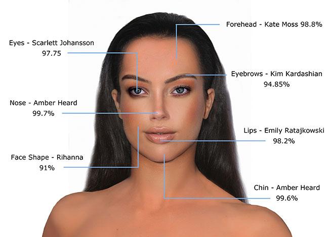 Theo như nghiên cứu của Gillian Da Silva, có một điều thú vị là top những ngôi sao có gương mặt hoàn hảo nhất đều chứa một điểm trên gương mặt đạt mức tuyệt đối. Cặp lông mày của Kim, đôi môi của Emily, cằm của Amber, ... khi được ghép lại với nhau sẽ tạo ra gương mặt chuẩn 100% tỉ lệ vàng. Trên đây là hình ảnh cô gái hoàn hảo không tì vết theo công thức của Gillian Da Silva.