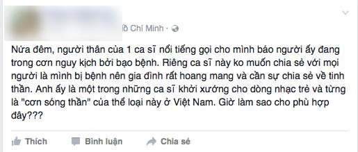 Lúc đầu, người bạn này chỉ chia sẻ thông tin về tình hình bệnh nhưng giấu tên. - Tin sao Viet - Tin tuc sao Viet - Scandal sao Viet - Tin tuc cua Sao - Tin cua Sao