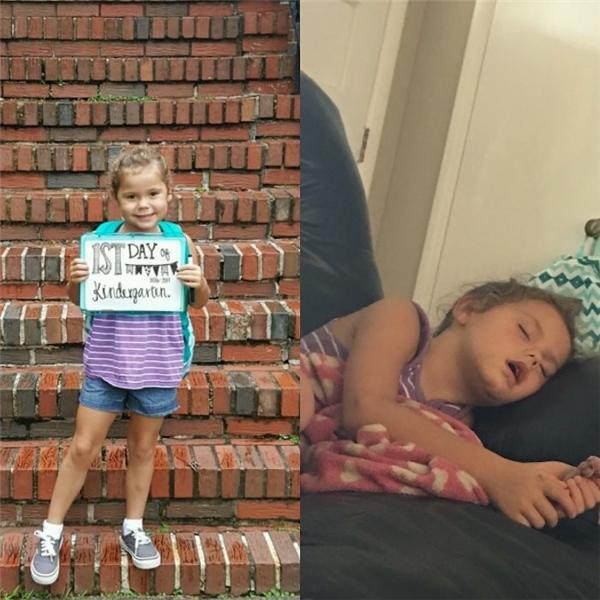 """Giấc ngủ say không biết trời trăng gìsau khi đi học cả ngày của cô bé khiến mẹ thắc mắc ở trường con có phải... """"lao động khổ sai"""" gì hay không."""