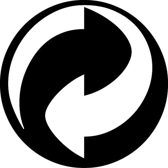 Mũi tên âm dương cho thấynhà sản xuất đã bỏ chi phícho việc thu gom và tái chế bao bì sản phẩm của chínhcông ty họsau khi sử dụng. Đây là quy định bắt buộc cho cácnhà sản xuất phân phối hàng tại thị trường không có chương trình thu gom rác tái chế.