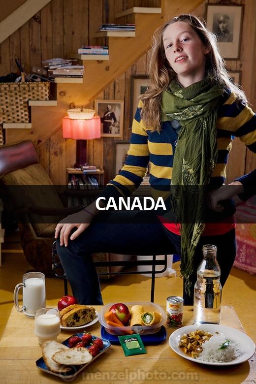 Coco Simone Finken, cô bé tuổi teen ăn chay sống tại thành phố Gatineau, Quebec, Canada: 1.900 calo mỗi ngày. Gia đình cô không có ô tô, chỉ mua rau xanh rẻ tiền và tự mình trồng rau củ trong vườn để ăn.
