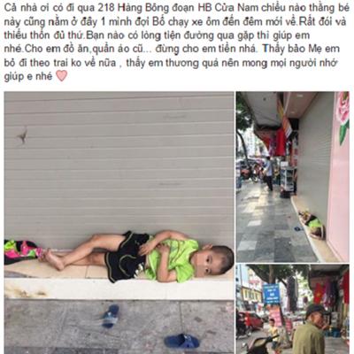 Câu chuyện về cậu bé đói lả nằm chờ bốkhiến cộng đồng mạng dậy sóng. Ảnh:Facebook Linh.