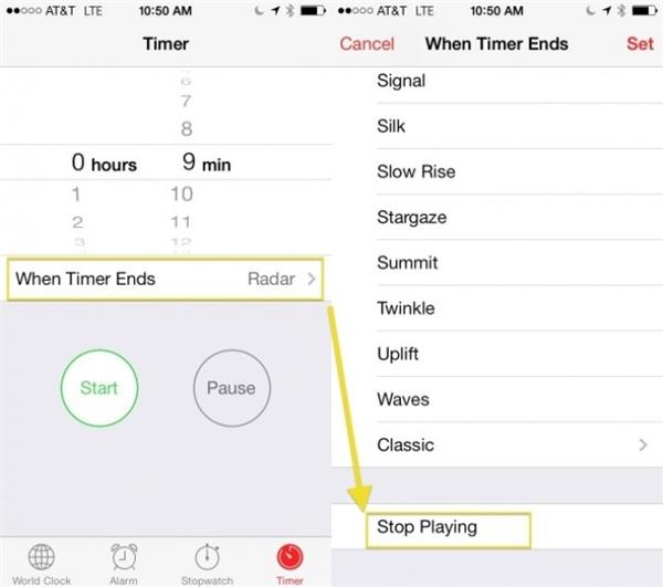 Canh thời gian tự động tắt nhạc khi vừa nghe nhạc vừa ngủ: mở ứng dụng Clock => Timer, chọn thời gian bạn muốn nhạc tự động dừngWhen Timer Ends, (kéo xuống dưới cuối cùng) Stop Playing.