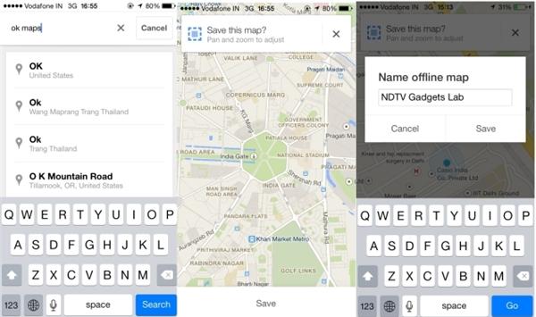 """Lưu lại bản đồ để dùng khi offline: khi có Internet, vào Google Maps gõ """"ok Maps"""" vào khung tìm kiếm, màn hình sẽ yêu cần bạn tải bản đồ về máy, chọn Save,điền vào phầnNhập tên cho khu vực đó. Để mở bản đồ khi sử dụng offline, chọn biểu tượng Person ngay kế bên biểu tượng chỉ phương hướng rồi kéo xuống dưới để xem bản đồ."""