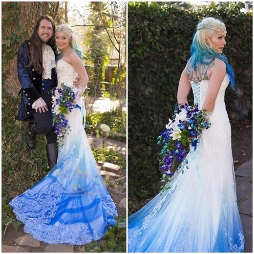 Cô dâu này cònchọn tóc dip dye phù hợp với trang phục.