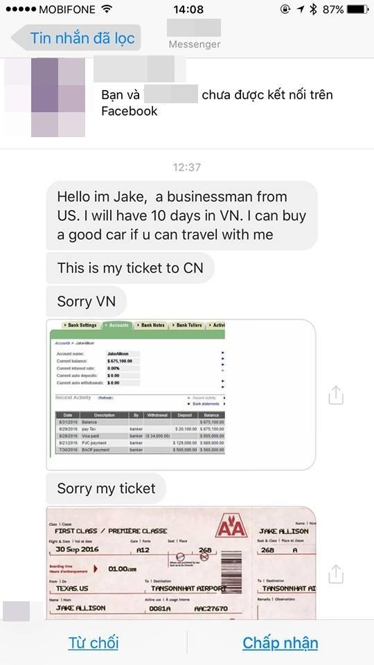 Không chỉ dừng lại ở đó, người này còn nhắn cho Hương Tràm cả ảnh chụp vé máy bay hạng nhất, chứa thông tin họ tên, ngày giờ bay để chứng minh những lời nói của mình là thật. - Tin sao Viet - Tin tuc sao Viet - Scandal sao Viet - Tin tuc cua Sao - Tin cua Sao