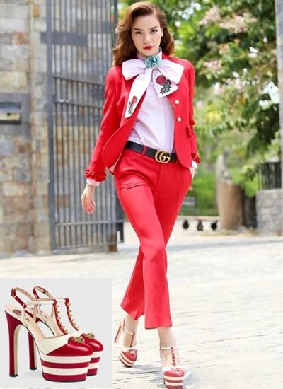 Trong thời gian đảm nhiệm vai trò giám khảo The Face, Hồ Ngọc Hà khéo léo kết hợp những đôi giày cao gót thời thượng với trang phục hàng hiệu.