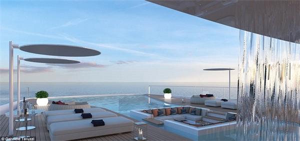 Bể bơi vô cực bằng kínhkhiến du khách cócảm giác như đangbay bổng giữa bầu trời.