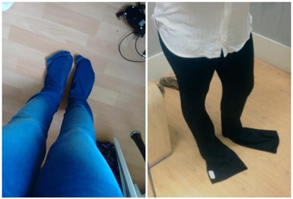 """""""Củ lùn"""" bao giờ cũng tiết kiệm được khoản tiền mua vớvì quần dài che hết cả bàn chân rồi."""