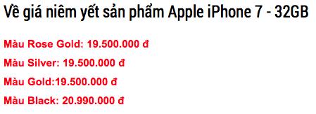 Giá bán các phiên bản màu iPhone 7. (Ảnh: internet)