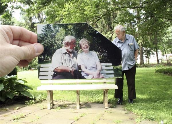 Cụ già ghé thăm chiếc băng ghế cũ ở công viên, nơi ông từng cùng vợ đến ngồi mỗi chiều những ngày bà còn sống.
