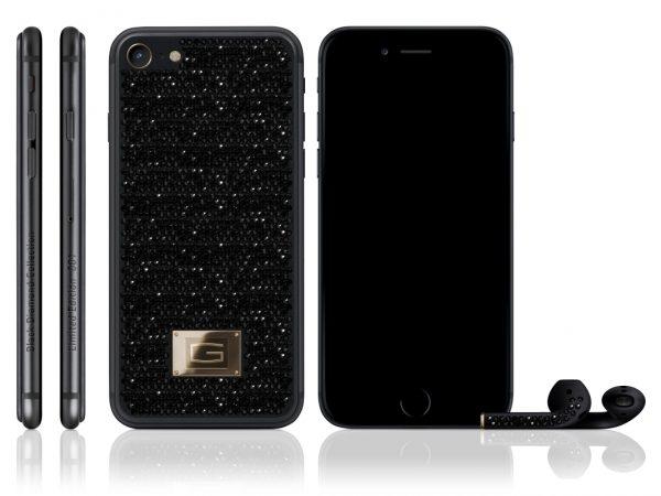Tổng thể mẫu iPhone 7 nạm kim cương đen. (Ảnh: internet)