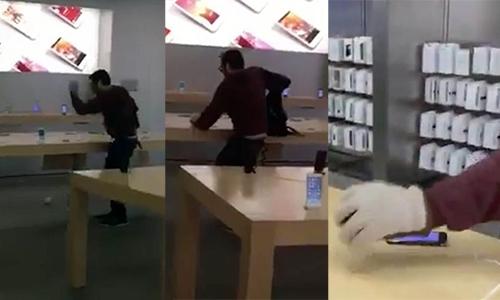 Những chiếc iPhone, Macbook bị đập náthư hỏng hoàn toàn. (Ảnh: internet)