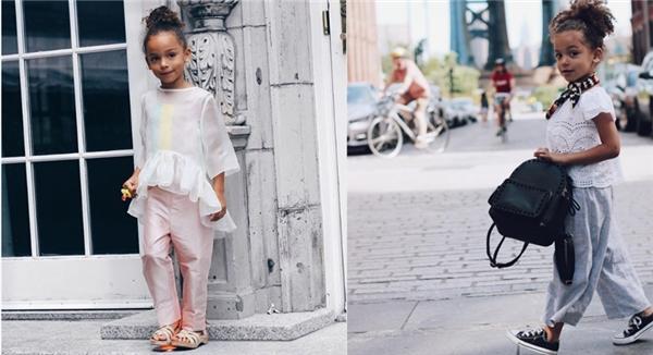 Streetstyle của cô bé biến hóa đa dạng, rất nữ tính nhưng vẫn tạo ra phong cách riêng cho mình.