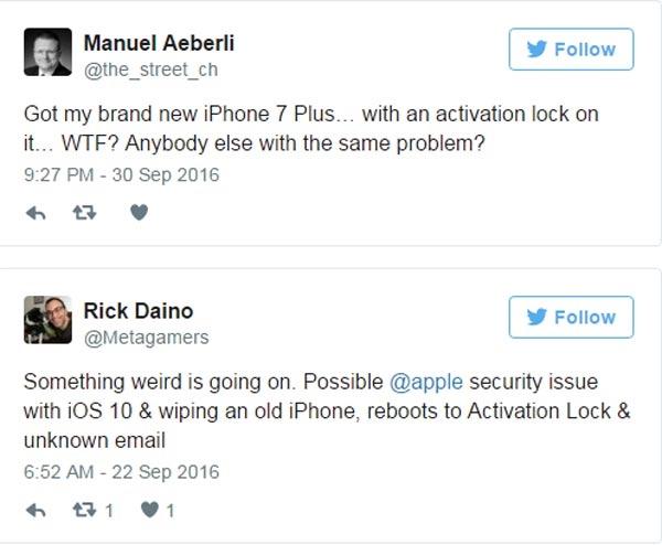Những dòng đăng tải trên Twitter của người dùng gặp vấn đề với iPhone 7/ 7 Plus. (Ảnh: Twitter)