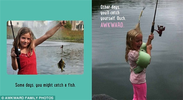 Một ngày nào đó, con có thể sẽ câu được cá. Nhưng con cũng có thể câu được... chính con đấy, chúc mừng con! (Ảnh: Awkward Family Photos)