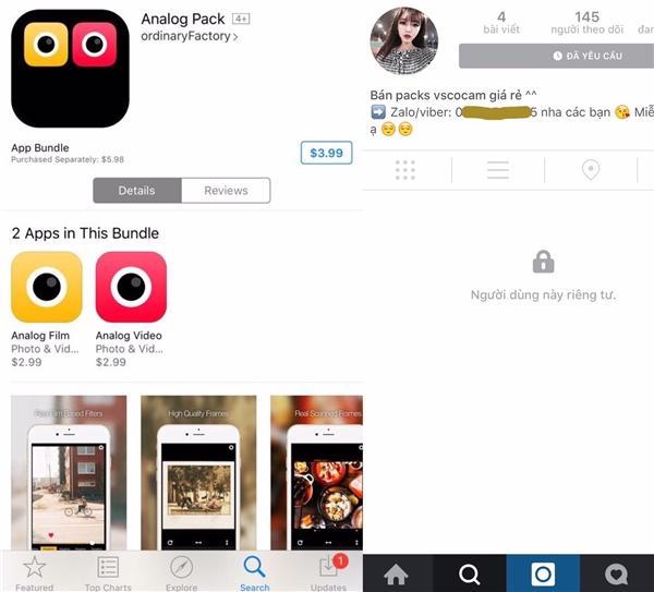 Lời chào mời mua ứng dụng chỉnh sửa ảnh giá rẻ trên Instagram. (Ảnh: internet)