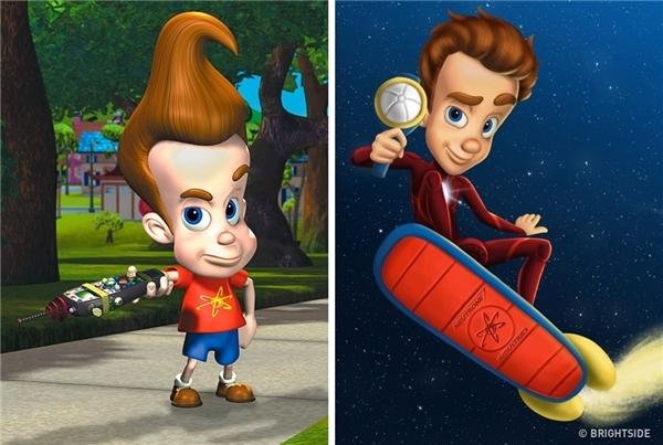 Còn cậu bé Jimmy Neutron củaThe Adventures ofJimmy Neutron: Boy Geniusthì vẫn thích theo đuổi đam mê khám phá vạn vật.(Ảnh: Bright Side)