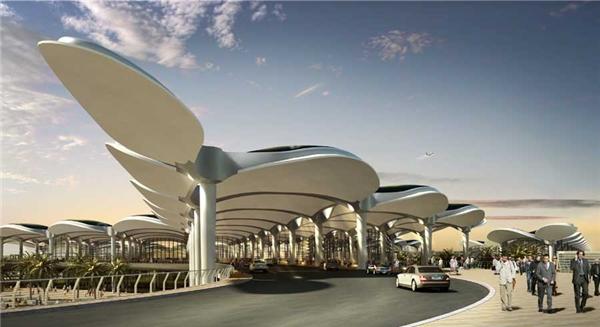 Nhìn từ xa, sân bay Queen Alia trông như những chồi cây nonđứng sát nhau, vươn hai chiếc lá đón ngày mới.