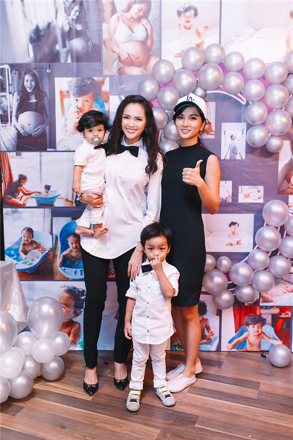 Á hậu Diễm Châu rạng rỡ tổ chức tiệc mừng cho con trai