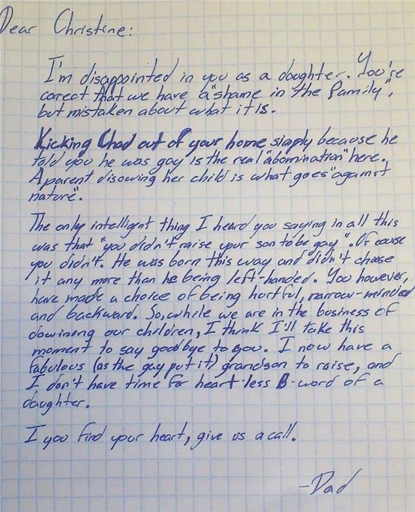 Bức tâm thư của ông ngoạidạy dỗ con gái vì đuổi cháu ngoại đồng tínhra khỏi nhà.