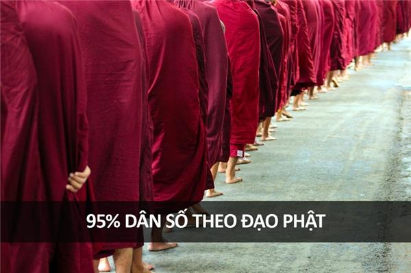 Đây là một trong những quốc gia có số lượng Phật tử đông nhất thế giới, chiếm 95% dân số. Đàn ông Thái thường trải qua một quãng thời gian của tuổi trẻ để theo nhà chùa, dù không phải ai cũng đi tu cả đời.