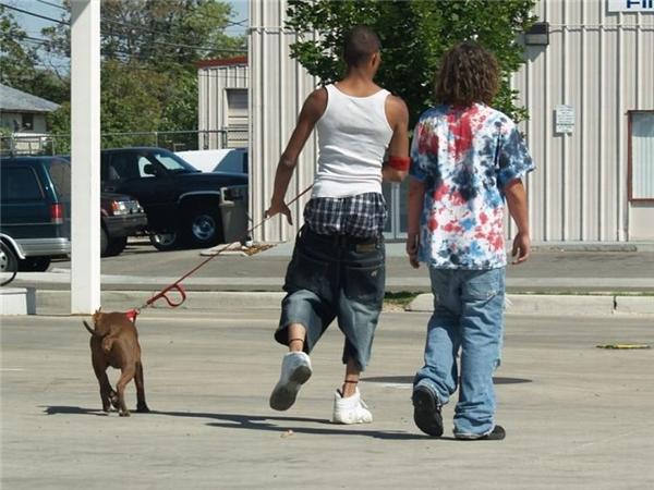 Dắt chó đi dạo thôi mà, cần gì phải ăn mặc chỉnh chu quá làm gì.