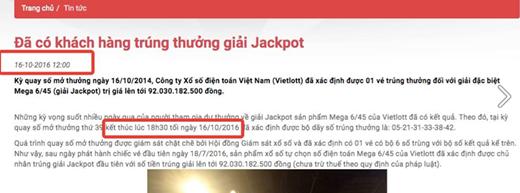 18 giờ 30 mới quay số nhưng kết quả trên trang chủ của Vietlott lại có thời gian đăng tải lúc 12h trưa.