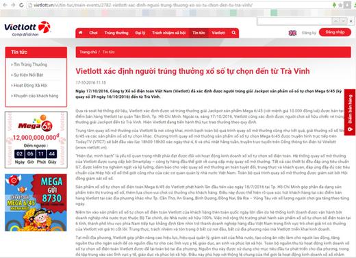 Trang web chính thức của Vietlott đã đăng tải thông tin xác định người trúng thưởng xổ số tự chọn đến từ Trà Vinh.