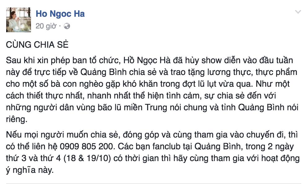 Hồ Ngọc Hà quyết định huỷ diễn để về quê hương Quảng Bình hỗ trợ đồng bào bão lũ - Tin sao Viet - Tin tuc sao Viet - Scandal sao Viet - Tin tuc cua Sao - Tin cua Sao