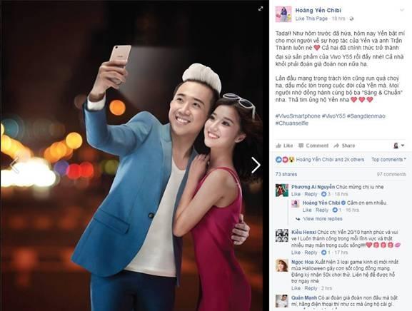 Hoàng Yến Chibi háo hức chia sẻ trên trang fanpage về việc trở thành đại sứ sản phẩm của Vivo Y55. - Tin sao Viet - Tin tuc sao Viet - Scandal sao Viet - Tin tuc cua Sao - Tin cua Sao