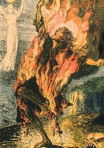 Hình vẽ mô tả cảnh người tự bốc cháy.