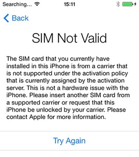 iPhone lock khi Reset sẽ không nhận sim. (Ảnh: internet)