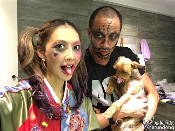 Vợ chồng Hà Nhuận Đông siêu nhí nhố quên mất hóa trang cho cún cưng rồi.
