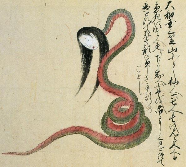 Xà nữđược miêu tả trong truyện dân gian Nhật Bảnlà một con rắn có đầu là thiếu nữ xinh đẹp.