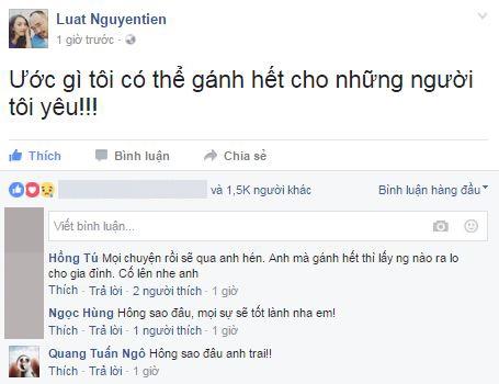 """Trên trang cá nhân của mình, ông xã Thu Trang khiến người hâm mộ xót xa khi chia sẻ dòng trạng thái buồn, với nội dung: """"Ước gì tôi có thể gánh hết cho những người tôi yêu"""". - Tin sao Viet - Tin tuc sao Viet - Scandal sao Viet - Tin tuc cua Sao - Tin cua Sao"""