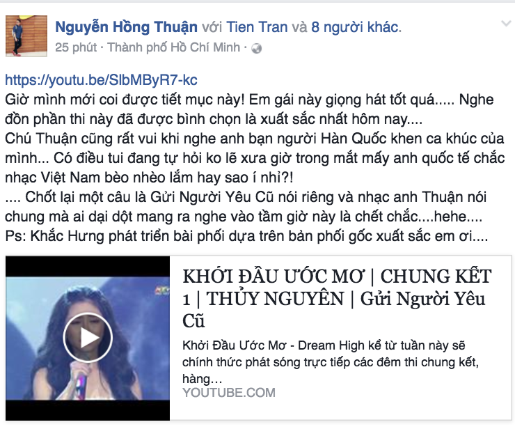 Thậm chí, tác giả của ca khúc Gửi người yêu cũ – nhạc sĩ Nguyễn Hồng Thuận, sau khi xem lại tiết mục của ThủyNguyên đã dành tặng lời khen cho giọng hát của cô cũng như bản phối xuất sắc của Khắc Hưng.
