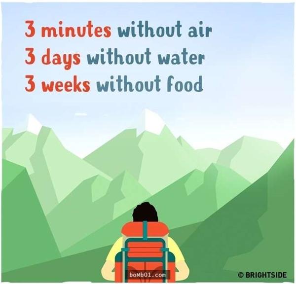 Bạn nên biết,chúng ta khó mà có thể sống khi không thở trong 3 phút, không uống nước trong 3 ngày hoặc không ăn trong 3 tuần. Vì vậy, dù thế nào cũng không được đặt bản thân vào hoàn cảnh thiếu khí thở, thức ăn, nước uống.