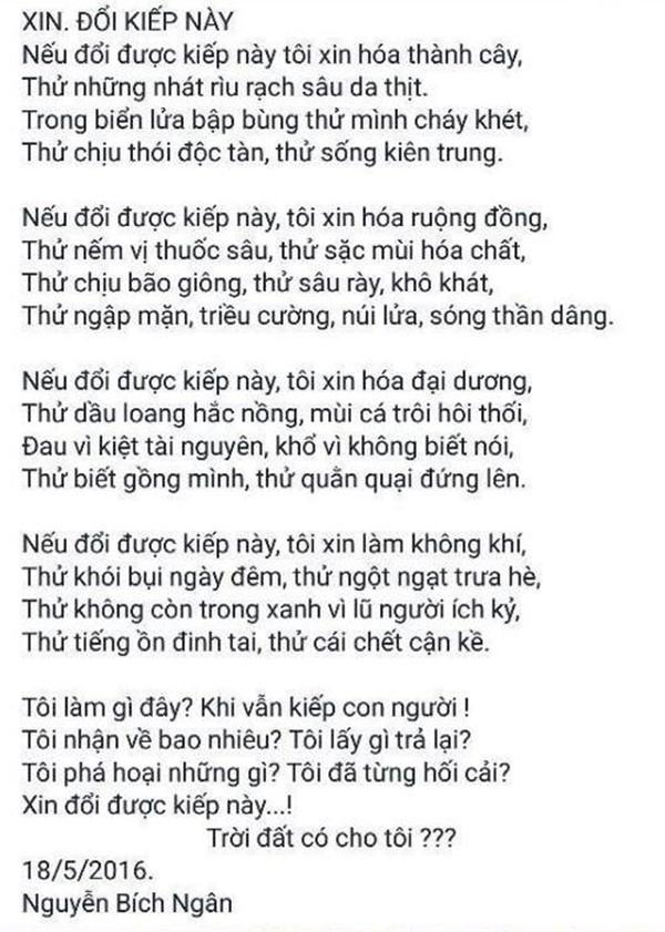 Bài thơ của cô béBích Ngânviết từ tháng 5/2016, hiện đang được rất nhiều người chú ý. (Ảnh: Internet)
