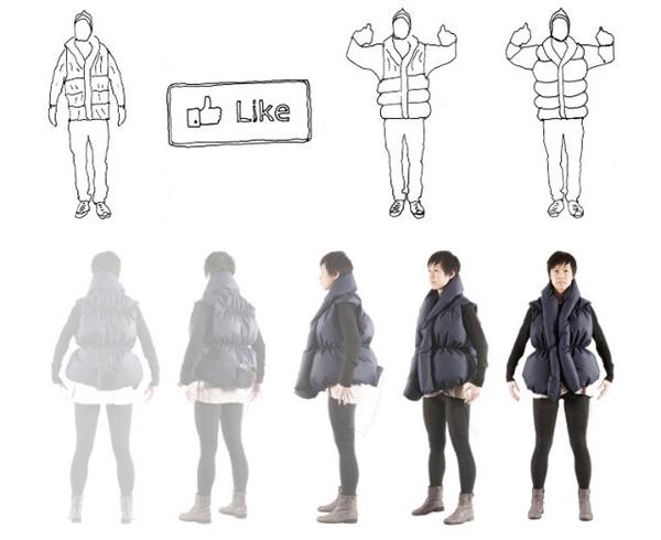 Chiếc áo ấm Like-A-Hug sẽ phản ứng theo số lượng bạn bè like hình hay status của bạn trên Facebook. Cụ thể, càng nhiều like thì áo sẽ càng phồng lên và tạo cảm giác cho người mặc như đang nhận được những cái ôm vô cùng ấm áp.