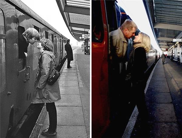 Nụ hôn xuyên thời gian và mối tình vẫn sống dù chuyến tàu năm ấy đã xa rất xa rồi. (Ảnh: Chris Pors)