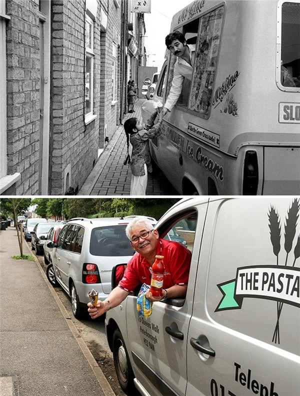 Chú bán kem năm xưa tóc đã đổi màu và chú cũng đã chuyển sang bán Pasta thay vì món kem khoái khẩu mà lũ trẻ yêu thích một thời. (Ảnh: Chris Pors)