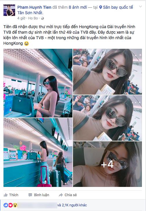 Mới đây, người đẹp vừa chia sẻ hình ảnh có mặt tại sân bay Tân Sơn Nhất, lên đường sang Hồng Kông để chuẩn bị tham dự sự kiện quan trọng của TVB.